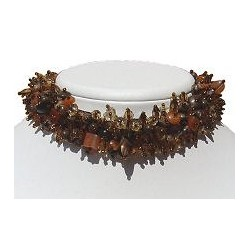 Silk Fabric Mixed Brown Bead Collar Choker