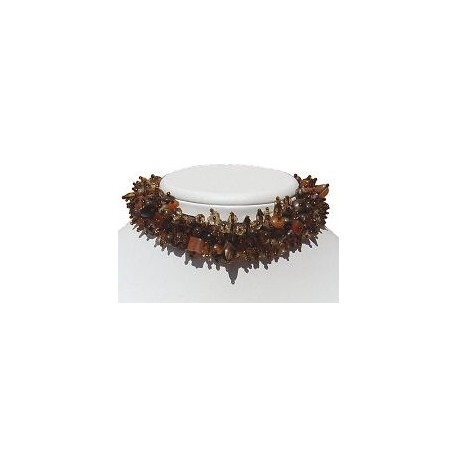 Hip hop Costume Jewellery Accessoies, Fashion Women Girls Small Gift, Silk Fabric Mixed Brown Bead Collar Choker Necklace