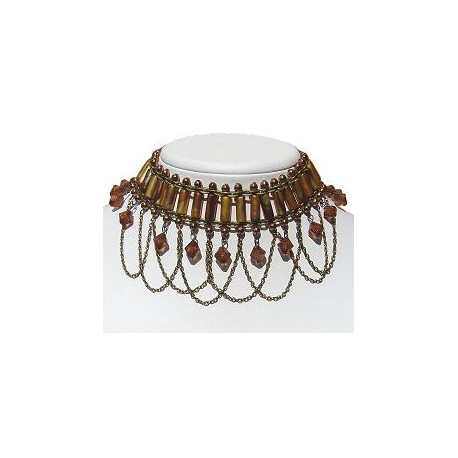 Brown Bead Brass Chain Cascade Wave Dangle Choker