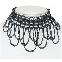 Green Rainbow Wave Beaded Cascade Choker