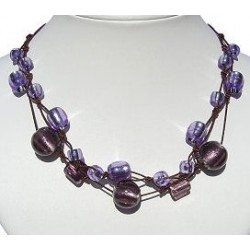 Handcrafted Costume Jewellery Accessoies, Fashion Women Girls Small Gift, Purple Murao Venetian Glass Bead Knot Cord Necklace