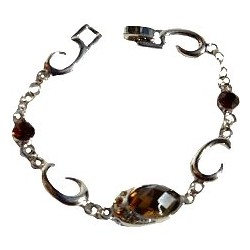 Dressy Costume Jewellery Accessoies, Fashion Women Girls Small Gift, Brown Oval Diamante Silver Swirl Bracelet