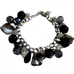 Classic Costume Jewellery Accessoies, Fashion Women Girls Small Gift, Dangle Grey MOP Black Bead Charm Cluster Bracelet