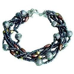 Classic Costume Jewellery Accessoies, Fashion Women Girls Dainty Small Gift, Layered Multi Strand Grey Bead Bracelet