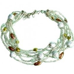 Classic Costume Jewellery Accessoies, Fashion Women Girls Dainty Small Gift, Layered Multi Strand White Bead Bracelet