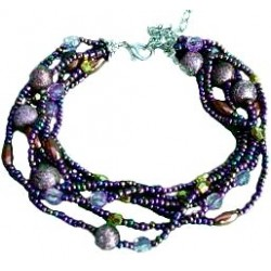 Classic Costume Jewellery Accessoies, Fashion Women Girls Dainty Small Gift, Layered Multi Strand Purple Bead Bracelet