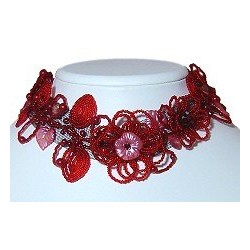 Red Floral Beaded Collar Choker