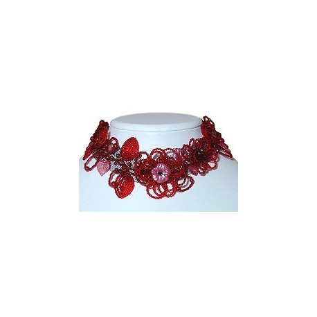 Handmade Bead Costume Jewellery, Wedding Party Dress Accessories, Fashion Women Gift, Red Floral Beaded Collar Choker Necklace