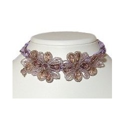 Lilac Beaded Flower Lace Cord Collar Choker