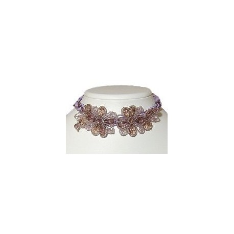 Handcrafted Beaded Costume Jewellery, Fashion Women Unique Handmade Gift, Lilac beaded Flower Lace Cord Collar Choker Necklace