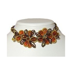 Brown Beaded Flower Lace Cord Collar Choker