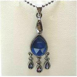 Classic Costume Jewellery Accessories, Fashion Women Dainty Small Gift, Royal Blue Diamante Teardrop Pendant Necklace