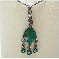 Classic Costume Jewellery Accessories, Fashion Women Dainty Small Gift, Green Diamante Teardrop Pendant Necklace