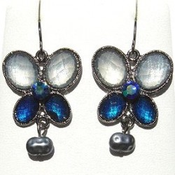 Mixed Blue Diamante Butterfly Grey Pearl Drop Earrings