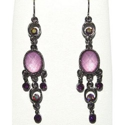 Pink Oval Diamante Chandelier Earrings