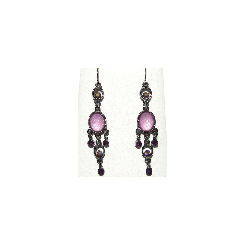 Chic Costume Jewellery Accessories Fashion Women Girls Small Gift Pink Oval Diamante Chandelier Earrings Loading Zoom