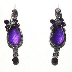 Chic Costume Jewellery Accessories, Fashion Women Girls Small Gift, Purple Diamante Butterfly Oval Drop Earrings