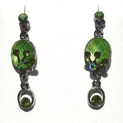 Chic Costume Jewellery Accessories, Fashion Women Girls Small Gift, Green Diamante Oval Drop Earrings
