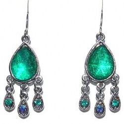 Classic Costume Jewellery Accessories, Fashion Women Dainty Small Gift, Green Diamante Dangle Teardrop Earrings