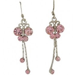 Cute Costume Jewellery, Young Women Girls Accessories, Dainty Small Gifts, Pink Diamante Dangle Butterfly Drop Earrings