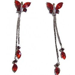 Red Diamante Butterfly Drop Earrings