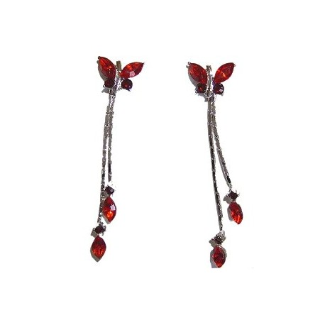 Cute Costume Jewellery, Young Women Girls Accessories, Bridemaid Dainty Small Gifts,Red Diamante Butterfly Drop Earrings