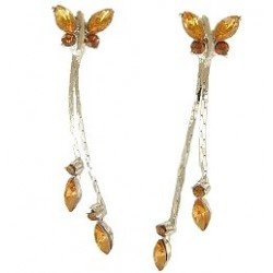 Cute Costume Jewellery, Young Women Girls Accessories, Dainty Small Gifts, Brown Diamante Butterfly Drop Earrings