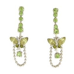 Cute Costume Jewellery, Young Women Girls Accessories, Dainty Small Gifts, Green Diamante Butterfly Short Drop Earrings