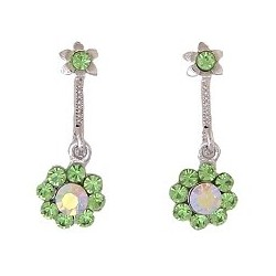 Cute Costume Jewellery, Young Women Girls Accessories, Dainty Small Gifts, Green Diamante Flower Short Drop Earrings