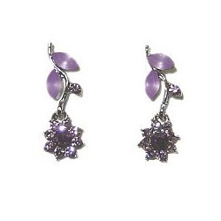 Cute Costume Jewellery, Young Women Girls Accessories, Bridemaid Dainty Small Gifts,Purple Diamante Flower Dainty Drop Earrings