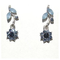 Cute Costume Jewellery, Young Women Girls Accessories, Dainty Small Gifts, Blue Diamante Flower Dainty Drop Earrings