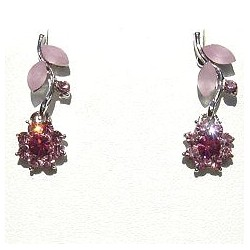 Cute Costume Jewellery, Young Women Girls Accessories, Dainty Small Gifts, Pink Diamante Flower Dainty Drop Earrings