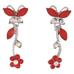 Cute Costume Jewellery, Women Wedding Dress Accessories, Dainty Gifts, Red Diamante Butterfly Flower Short Drop Earrings