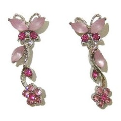 Cute Costume Jewellery, Women Wedding Dress Accessories, Dainty Gifts, Pink Diamante Butterfly Flower Short Drop Earrings