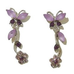 Cute Costume Jewellery, Women Wedding Dress Accessories, Dainty Gifts, Purple Diamante Butterfly Flower Short Drop Earrings