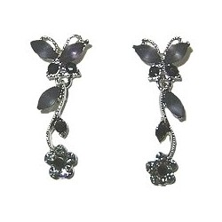 Cute Costume Jewellery, Women Wedding Dress Accessories, Dainty Gifts, Black Diamante Butterfly Flower Short Drop Earrings