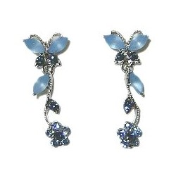 Cute Costume Jewellery, Women Wedding Dress Accessories, Dainty Gifts, Blue Diamante Butterfly Flower Short Drop Earrings