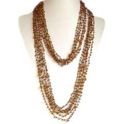 Brown Bead Multi-strand Crochet Extra Long Necklace