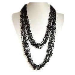 Jet Black Bead Multi-strand Crochet Extra Long Necklace