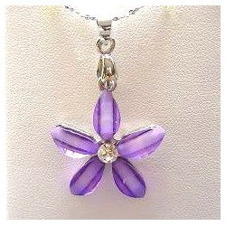 Cute Costume Jewellery Accessories, Fashion Women Teenage Teen Girls Small Gift, Lilac Rhinestone Lucky Flower Pendant Necklace