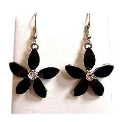 Costume Jewellery Accessories, Fashion Young Women Teenage Teen Girls Small Gift, Black Rhinestone Lucky Flower Drop Earrings