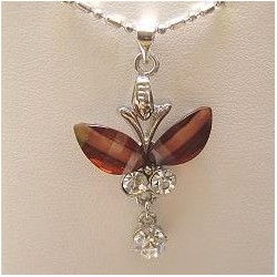 Costume Jewellery Accessories, Fashion Women Girls Small Gift, Brown Rhinestone Butterfly Clear Diamante Drop Pendant Necklace