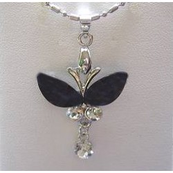 Costume Jewellery Accessories, Fashion Women Girls Small Gift, Black Rhinestone Butterfly Clear Diamante Drop Pendant Necklace