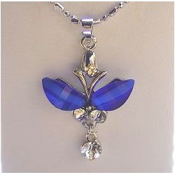Costume Jewellery Accessories, Fashion Women Girls Gift, Royal Blue Rhinestone Butterfly Clear Diamante Drop Pendant Necklace
