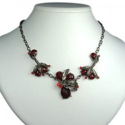 Burgundy Teardrop Rhinestone Dressy Floral Necklace