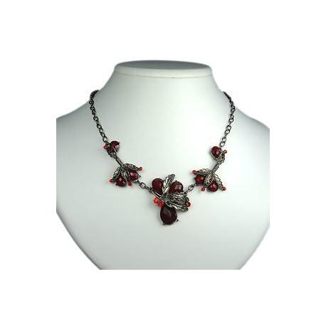 Costume Jewellery, Fashion Burgundy Teardrop Rhinestone Dressy Floral Necklace