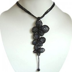 Handcrafted Costume Jewellery Accessories, Handmade Fashion Women Girls Gift, Black Beaded Triple Butterfly Long Drop Necklace