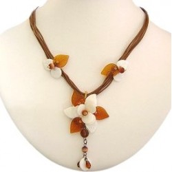 Handcrafted Costume Jewellery Accessories, Rope Necklaces, Fashion Women Girls Gift, White & Brown Winter Blossom Cord Necklace