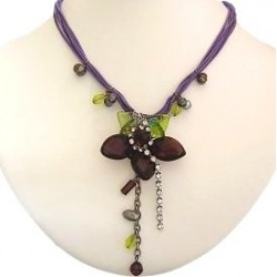Handcrafted Costume Jewellery Accessories, Handmade Fashion Women Girls Gift, Purple Waterlily Flower Cord Necklace