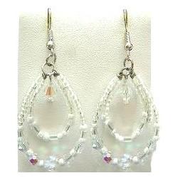 Handcrafted Bead Costume Jewellery Accessories, Fashion Women Small Gift, White Beaded Teardrop Double Loop Dangle Earrings